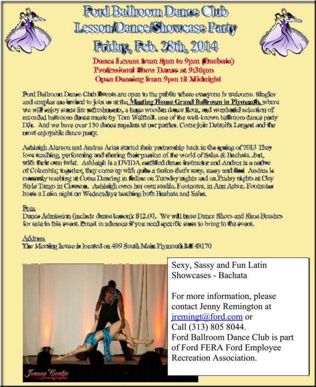 - Friday - 02/28/2014- Ford Ballroom Dance Club Party - Plymouth, MI -