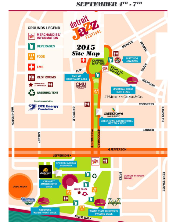 Detroit Jazz Festival - 2015 - Map -