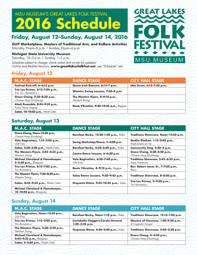 Lansing Folk Festival - Schedule - 2016