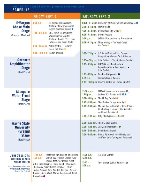 - Detroit Jazz Festival - 2017 - Schedule Page 01 -